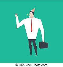 Businessman at party. Celebratory cap and Party horn. Manager drunk