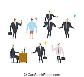 Businessman at party set. Celebratory cap and Party horn. balloon and alcohol. Manager drunk