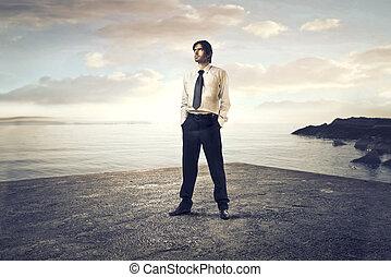 businessman at sea