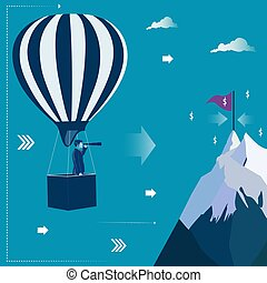 Businessman at the air balloon looking through telescope for his target. Business concept vector illustration