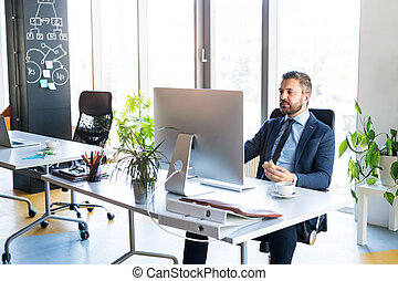 Businessman at the desk with computer in his office.