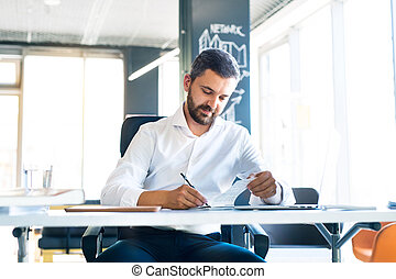 Businessman at the desk with laptop in his office working.