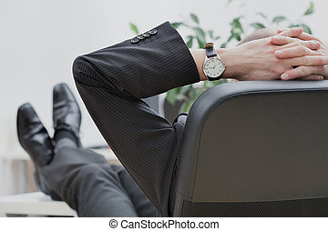 Businessman at the end of the work
