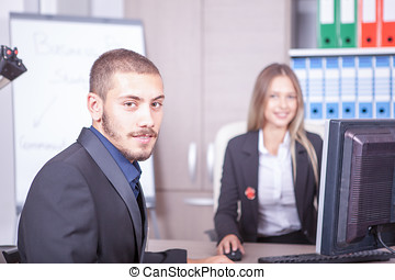 Businessman at the interview in an office