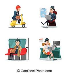 Businessman at Work. Business Lifestyle. Vector cartoon illustration
