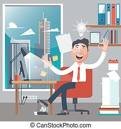 Businessman at Work. Man had an Idea. White Collar in Office. Successful Businessman. Vector illustration