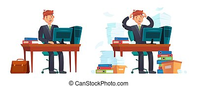 Businessman at workplace. Happy and stressed office worker. ...