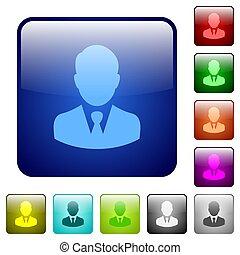 Businessman avatar color square buttons