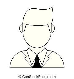Businessman avatar profile faceless in black and white