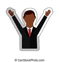 businessman avatar with hands up