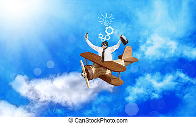Businessman aviator with creative ideas in business