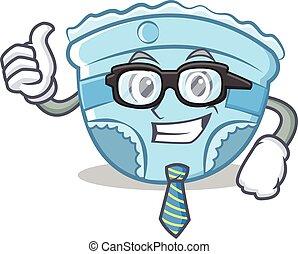 Businessman baby diaper character cartoon