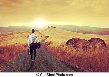 businessman back home - businessman walking turned his back...