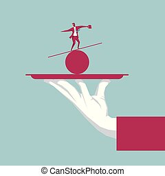 Businessman balance in the tray. The background is blue.