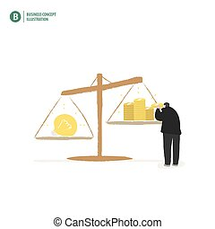 Businessman balance money and idea on white background illustration vector. Business concept.
