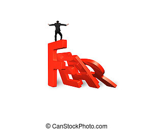 Businessman balancing domino of red fear word falling