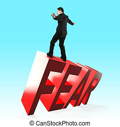 Concept of courage, overcoming fear and adversity.