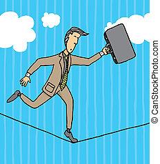 Businessman balancing on a string