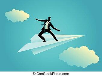 Businessman balancing on paper plane - Business concept ...
