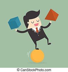 Businessman Balancing On the Ball. Business Concept Cartoon ...
