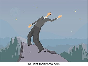 Businessman balancing on the edge of the abyss, business concept, vector illustration.