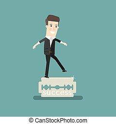 Businessman balancing on the knife. Business concept cartoon illustration.