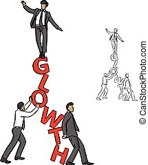 Businessman balancing on the red word GROWTH with his assistants vector illustration sketch doodle hand drawn with black lines isolated on white background