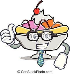 Businessman banana split character cartoon vector...