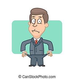 Businessman bankrupt shows everted pockets - Illustration,...