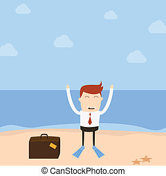 Businessman beach