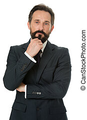 Businessman bearded thoughtful entrepreneur. Thoughtful businessman concept. Businessman thoughtful face make decision. Hard business decision. Businessman formal suit mature man isolated white