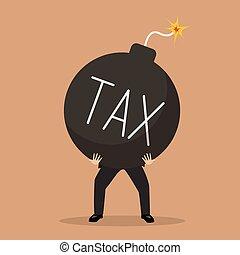 businessman bearing tax bomb