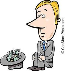 businessman beggar cartoon - Concept Cartoon Illustration of...