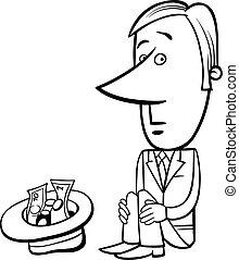 businessman beggar illustration - Black and White Concept...