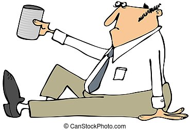 This illustration depicts a businessman sitting on the ground and holding up a can for money.