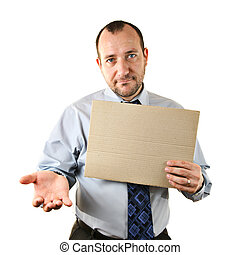 Businessman begging with cardboard sign