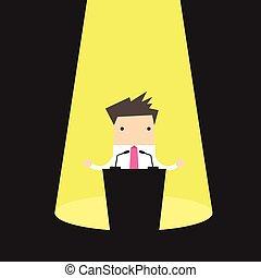 Businessman behind a podium