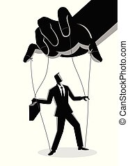 Businessman being controlled by puppet master