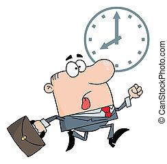 Hurried Caucasian Businessman Running Past A Clock