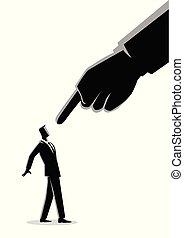 Businessman being pointed by giant finger