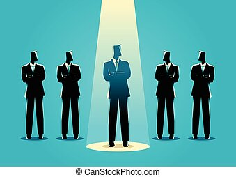 Businessman being spotlighted - Silhouette illustration of a...
