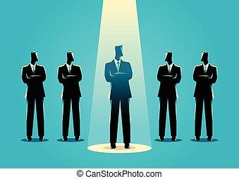 Businessman being spotlighted
