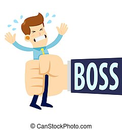 Businessman Being Squeezed By Boss Big Hand