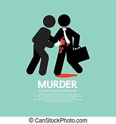 Businessman Being Stabbed With A Knife Vector Illustration