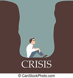 Businessman being trapped in a crisis hole