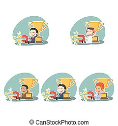 Businessman beside trophy holding coin magnet different race set