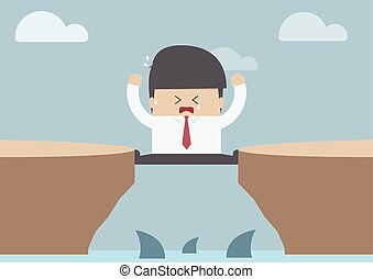 Businessman between the cliff with shark, Business crisis...