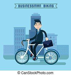 Businessman Biking. Businessman Riding a Bicycle. Modern Lifestyle. Man Biking in the City. Businessman on Bicycle. Vector illustration