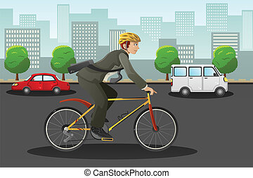 Businessman biking in the city