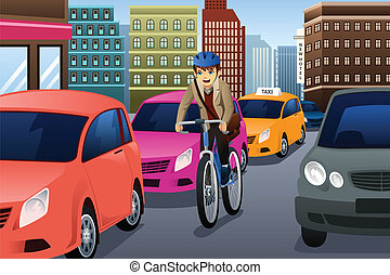 Businessman biking in the city